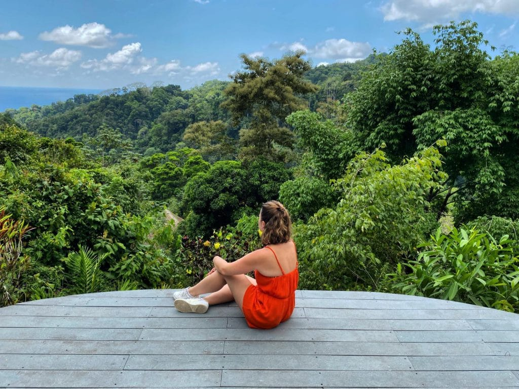 On the yoga platform, at Luna Lodge, in Costa Rica