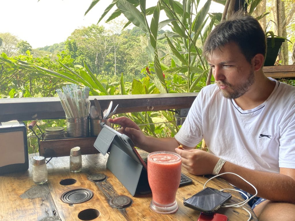 Francois working remotely in Costa Rica before the Coronavirus crisis. The perfect Airbnb place for a digital nomads