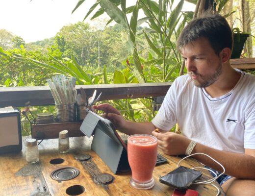 Francois working remotely in Costa Rica before the Coronavirus crisis