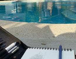 Drawing by the pool