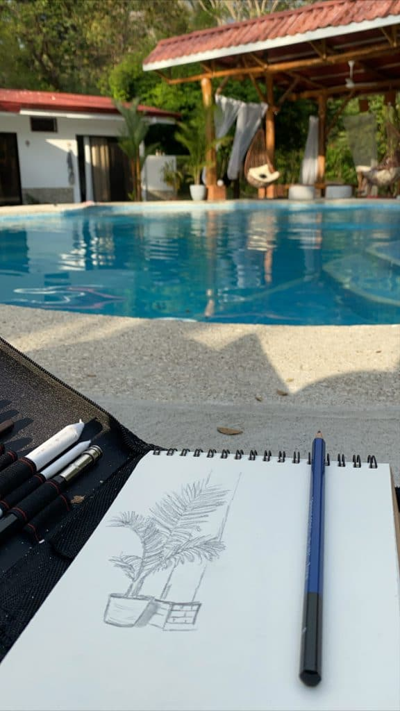 Drawing by the pool at our hotel in Dominical - Costa Rica