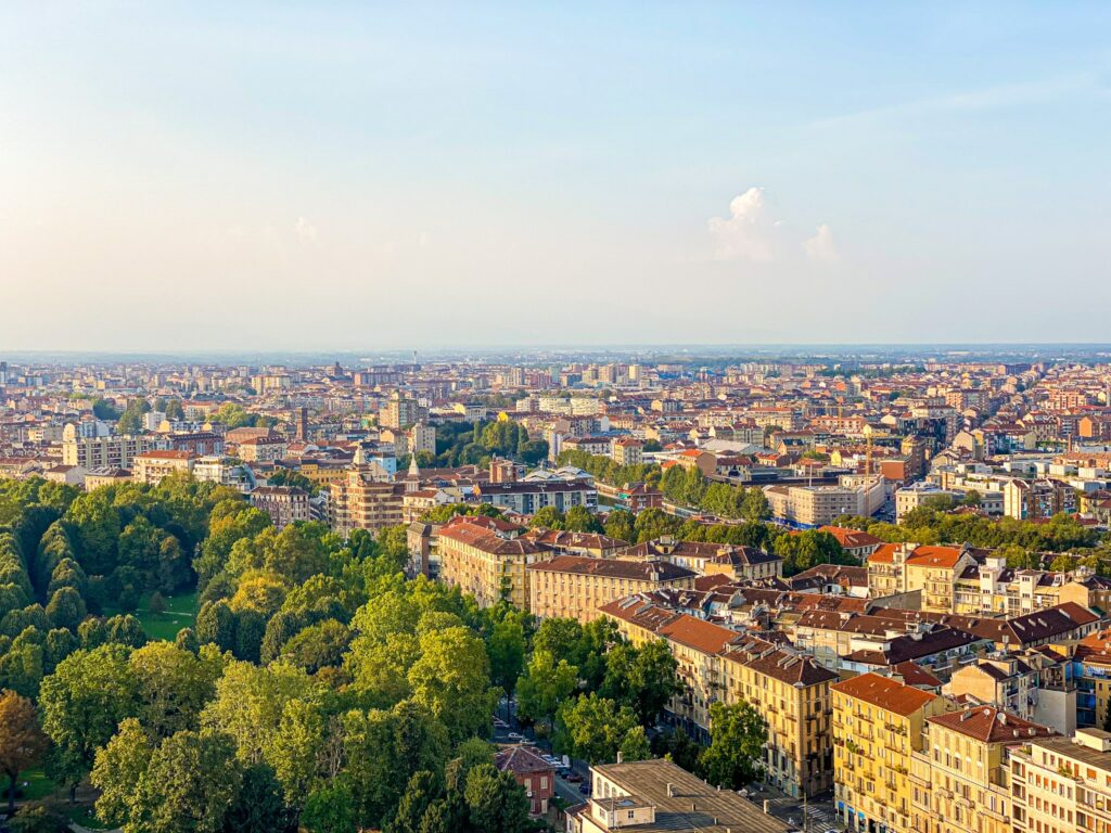 Panoramic view from the Mole Antonelliana in Turin, Italy