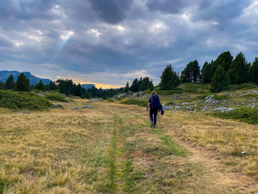 Walking in the Vercors at sunset