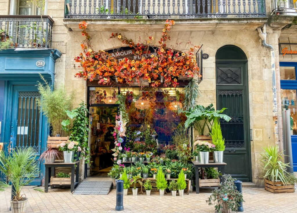 The Historical city center of Bordeaux and its flower shops