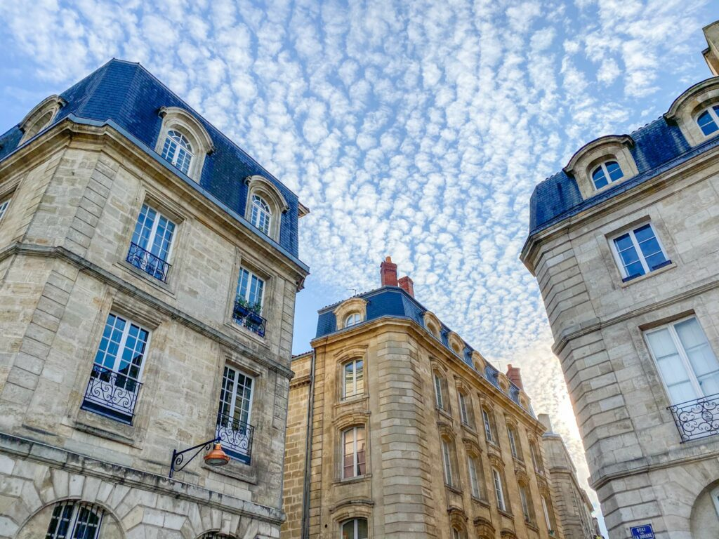 Buildings in the historical city center of Bordeaux