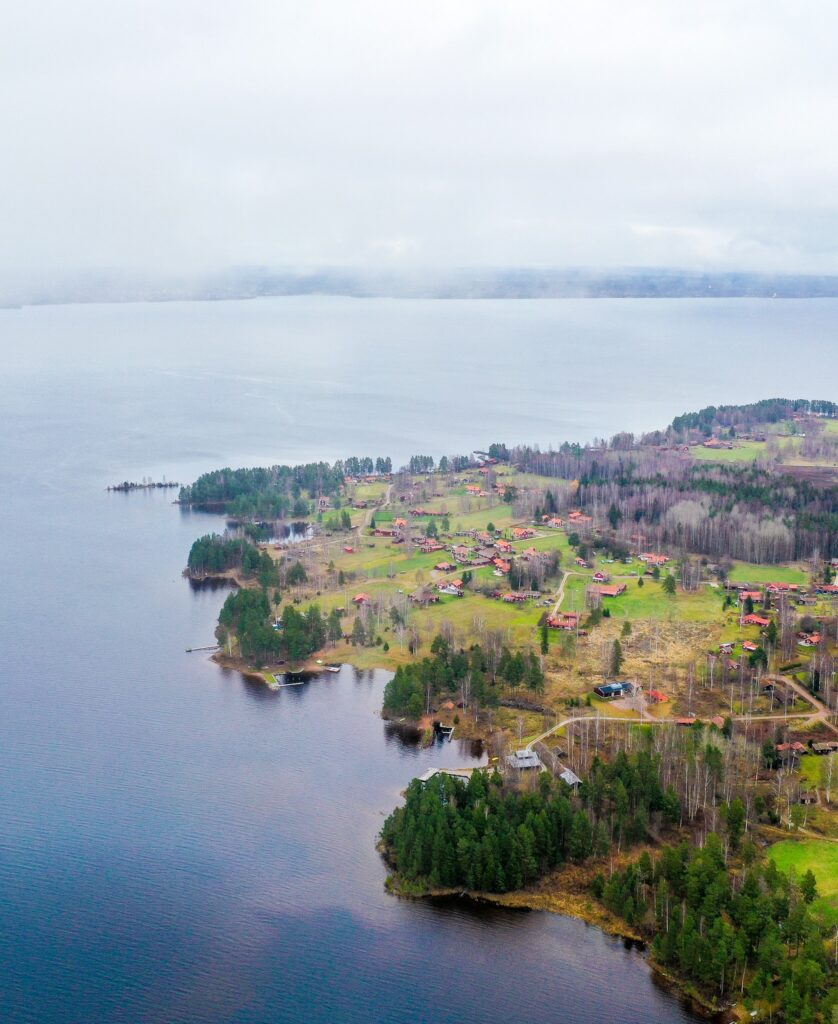 Overlooking Vikens Lake with drone