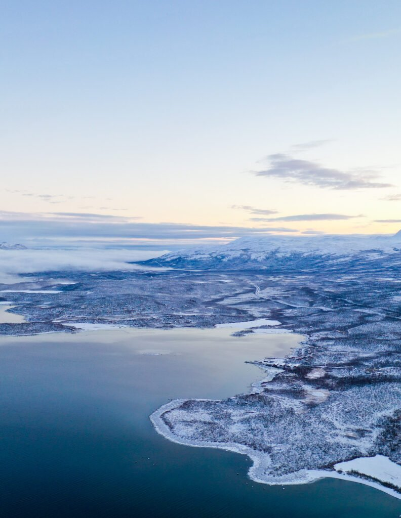 View from above of Abisko and its mountains