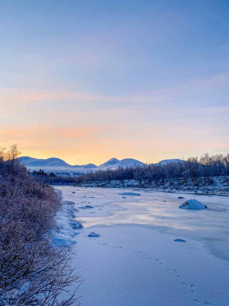 Some animals tracks on the ice of the Abisko River