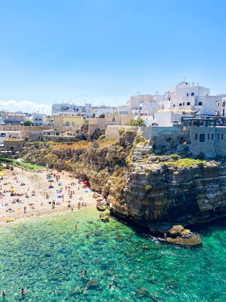 The beach in Polignano a Mare - easily crowded during high season